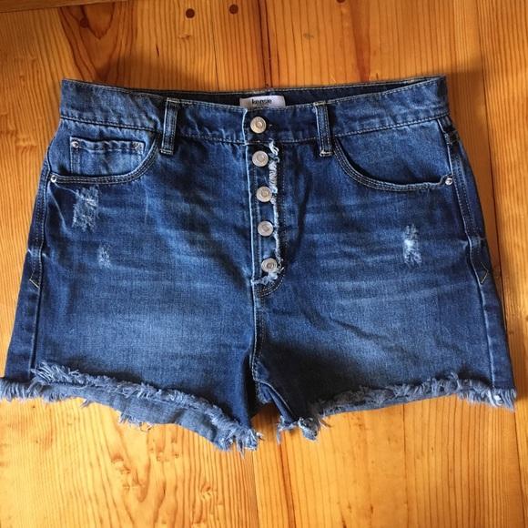 4c6c5f14d98 Kensie Pants - Kensie Button Up Frayed Jeans Shorts